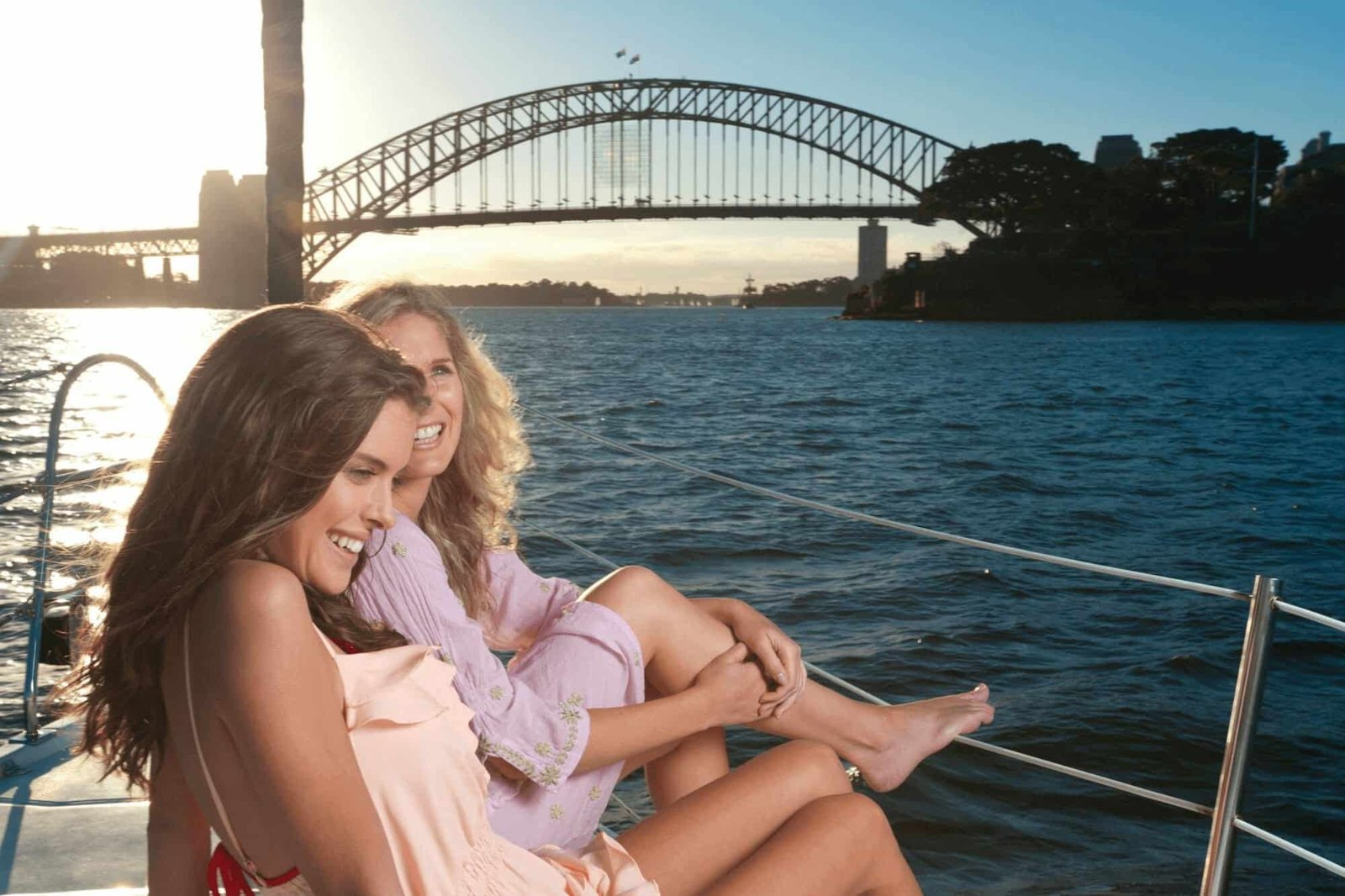 Girls on a boat in Sydney Harbour