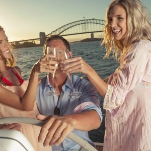 Party on a boat on Sydney harbour