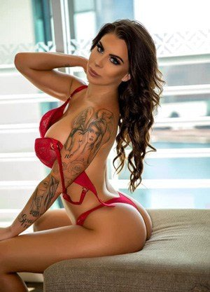 tattooed girl red lingerie